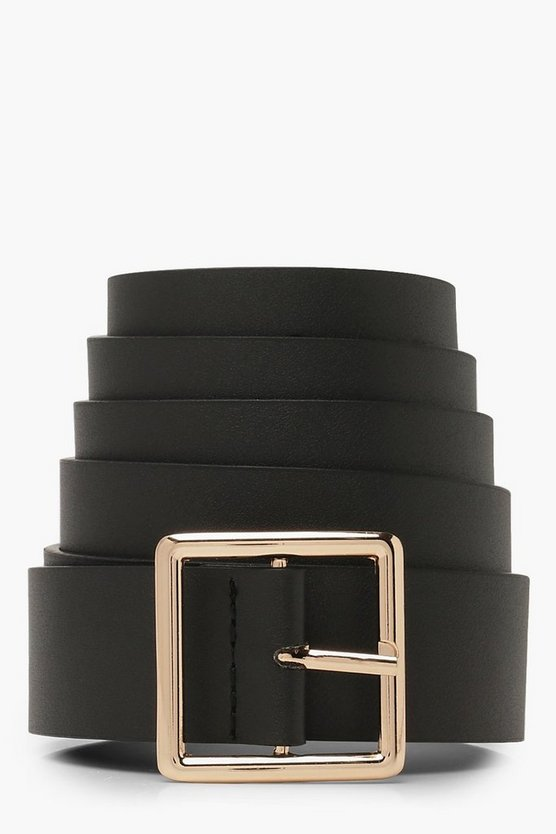 Womens Gold Plus Square Buckle Boyfriend Belt
