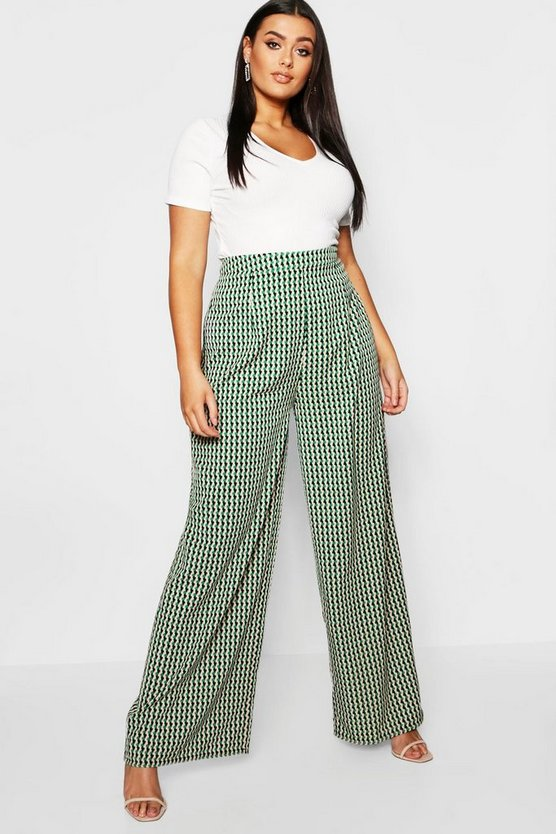 Plus Geo Print Wide Leg Trouser