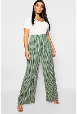 Womens Green Plus Geo Print Wide Leg Trouser