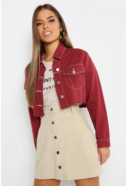 Petite Contrast Stitch Crop Jacket, Rust