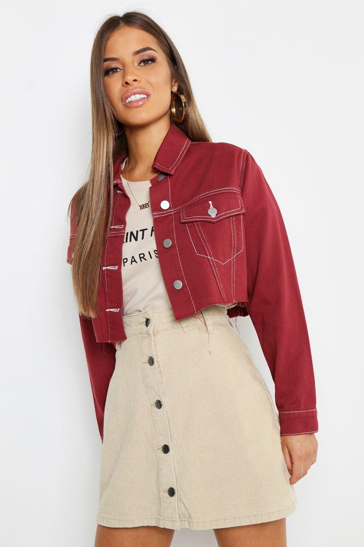 Petite Contrast Stitch Crop Jacket | boohoo