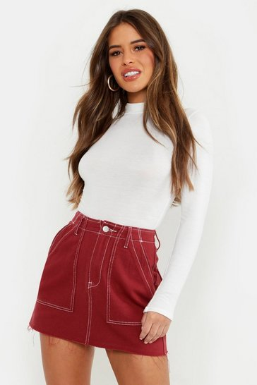 Womens Rust Petite Contrast Stitch Mini Skirt