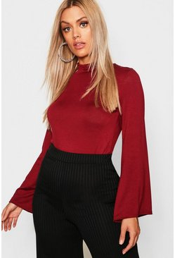Womens Berry Plus Jersey Roll Neck Flared Sleeve Top