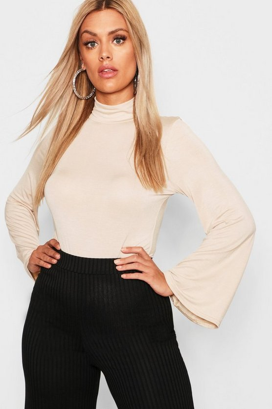 Plus Jersey Roll Neck Flared Sleeve Top