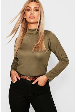 Womens Khaki Plus Crepe Roll Neck Top