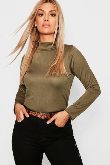 Womens Plus Crepe Roll Neck Top