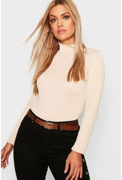 Womens Stone Plus Crepe Roll Neck Top