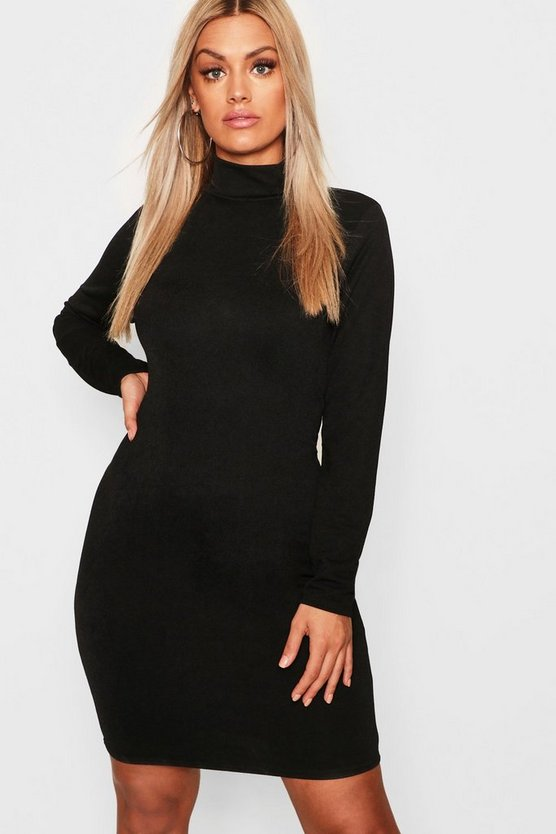 Black Plus Crepe Roll Neck Long Sleeve Bodycon Dress