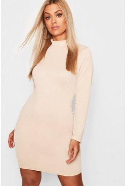 Womens Stone Plus Crepe Roll Neck Long Sleeve Bodycon Dress
