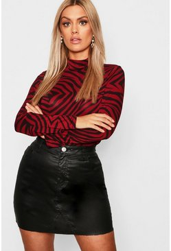 Womens Rust Plus Jersey Tiger Print Roll Neck Top