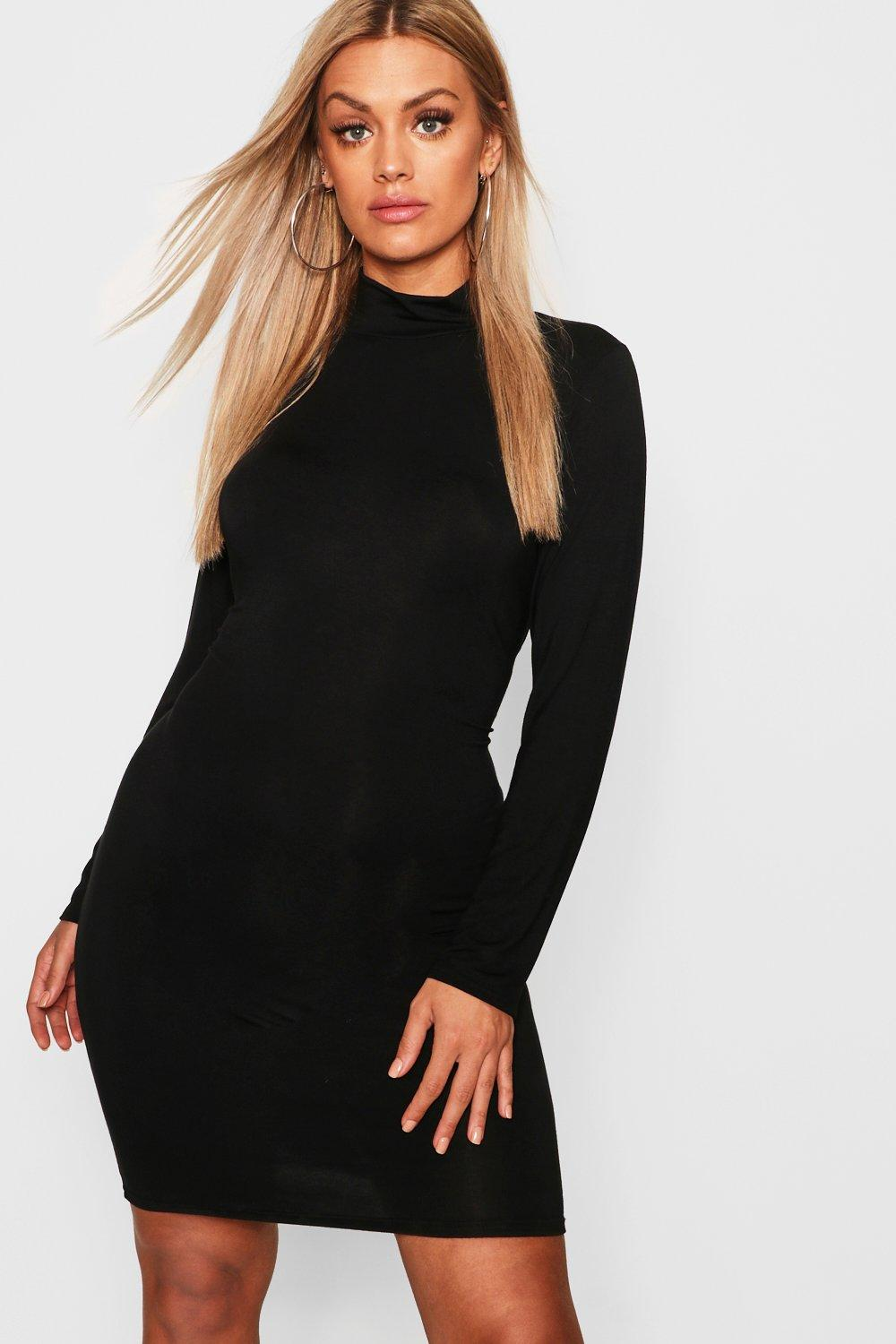 Plus Jersey Roll Neck Bodycon Dress
