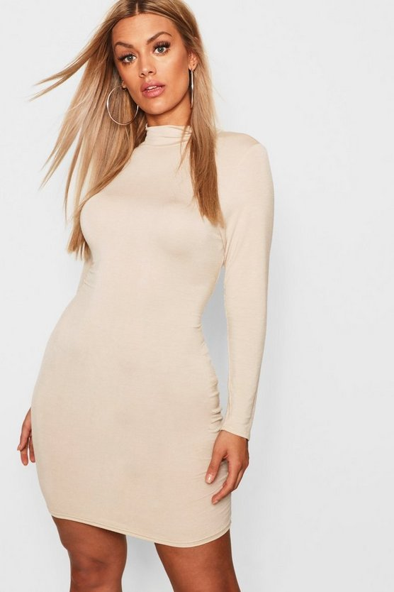 Womens Stone Plus Jersey Roll Neck Bodycon Dress