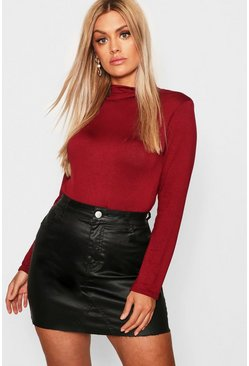 Womens Berry Plus Jersey Roll Neck Long Sleeve Top