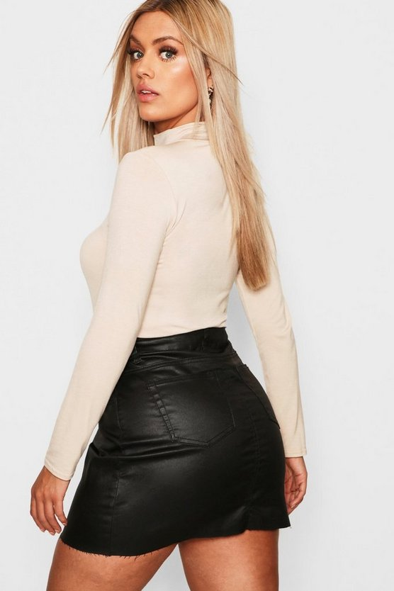 Plus Jersey Roll Neck Long Sleeve Top
