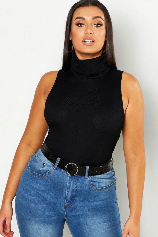 Womens Black Plus Roll Neck Sleeveless Top