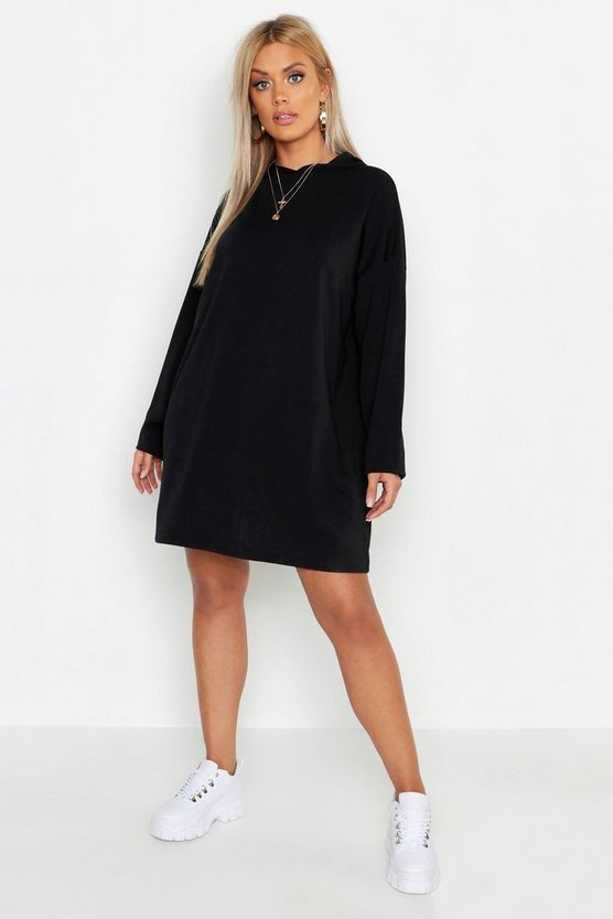 Plus oversized Hoodie-Sweatkleid, Schwarz, Damen