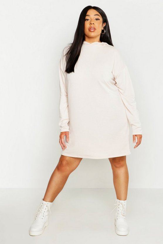 Womens Stone Plus Oversized Hoodie Sweat Dress