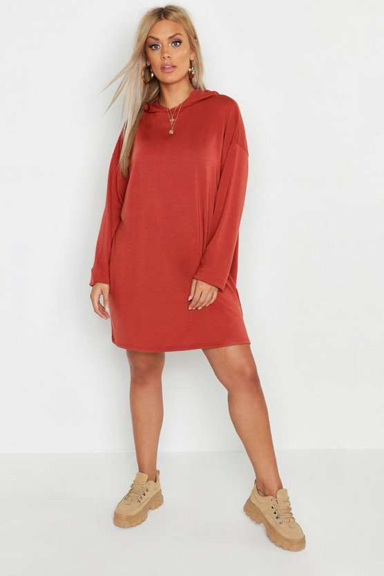Womens Terracotta Plus Oversized Hoodie Sweat Dress