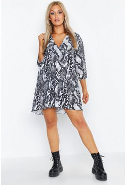 Womens Grey Plus Snake Print Smock Dress