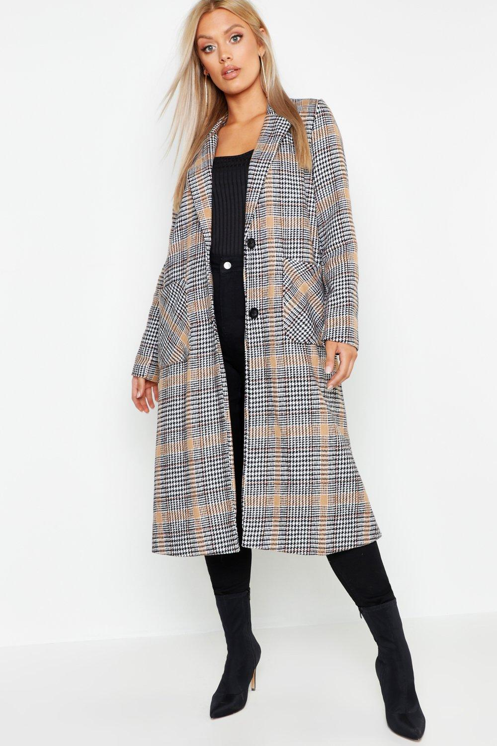 Plus Check Wool Look Coat