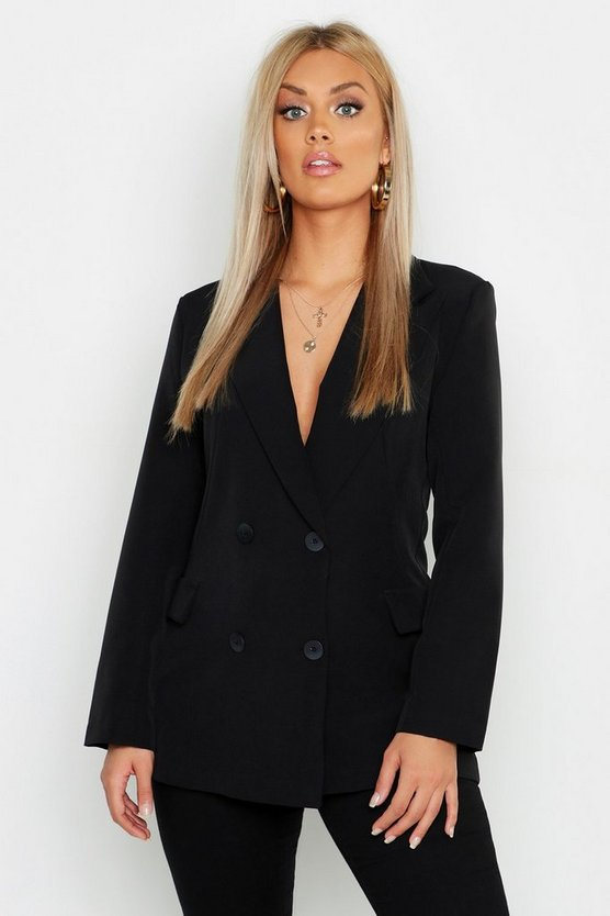 Womens Plus Pocket Double Breasted Oversize Blazer