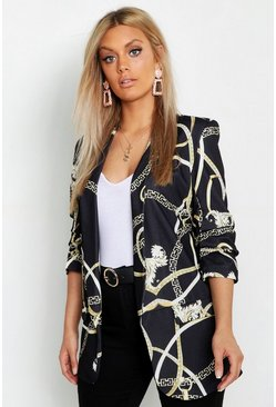 Black Plus Chain Print Ruched Sleeve Blazer