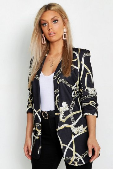 Womens Black Plus Chain Print Rouched Sleeve Blazer