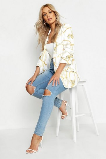 Womens White Plus Chain Print Rouched Sleeve Blazer