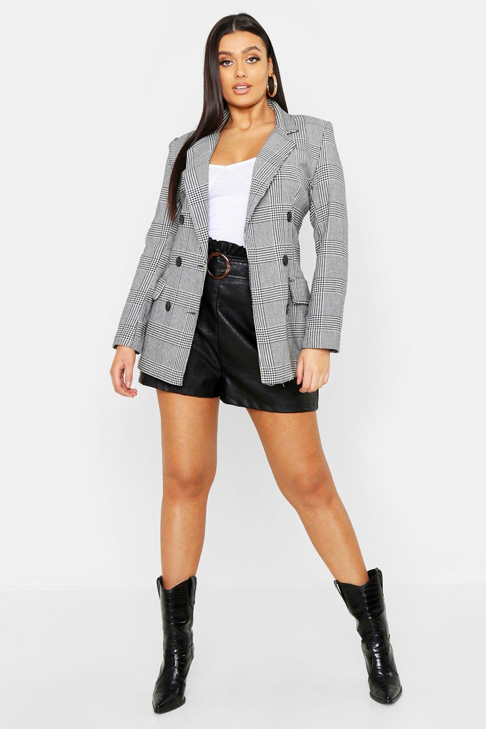 Plus Prince Of Wales Check Oversize Blazer