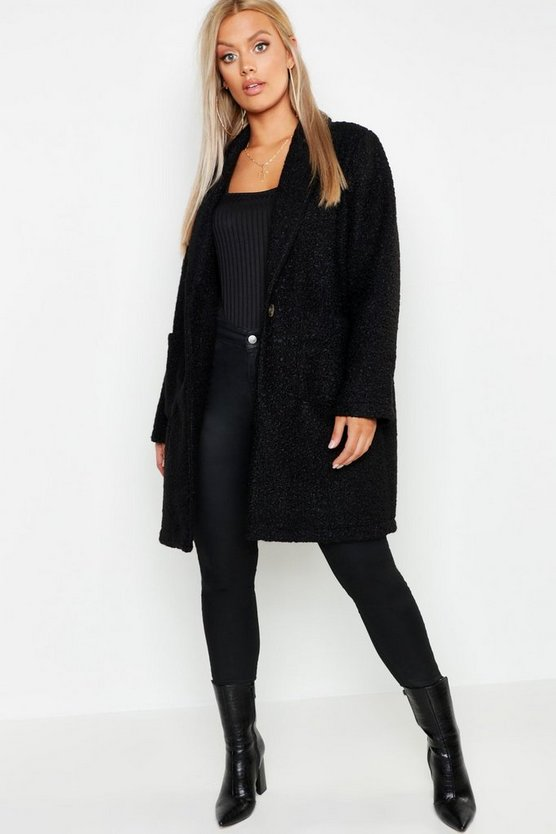 Womens Black Plus Faux Teddy Duster Jacket
