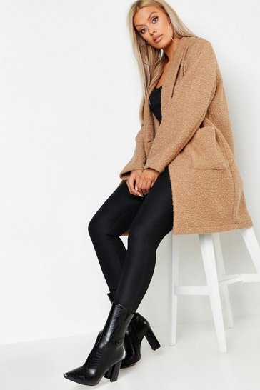 Camel Plus Faux Teddy Duster Jacket