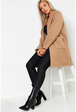 Womens Camel Plus Faux Teddy Duster Jacket