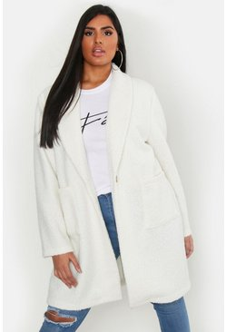 Womens Ivory Plus Faux Teddy Duster Jacket