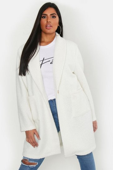 Ivory Plus Faux Teddy Duster Jacket