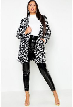 Womens Black Plus Zebra Print Coat