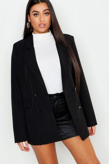 Womens Black Plus Oversized Double Breasted Blazer