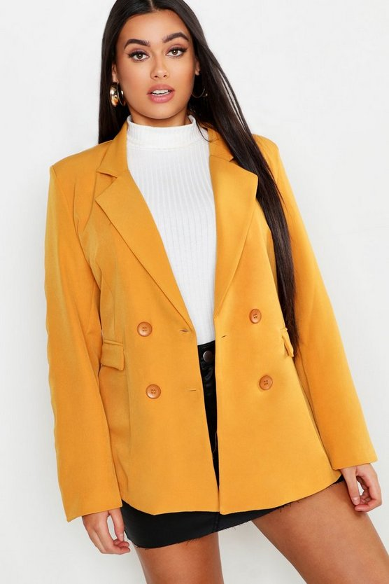 Womens Mustard Plus Oversized Double Breasted Blazer