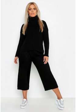 Black Plus Roll Neck Rib Knit Culotte Co-ord