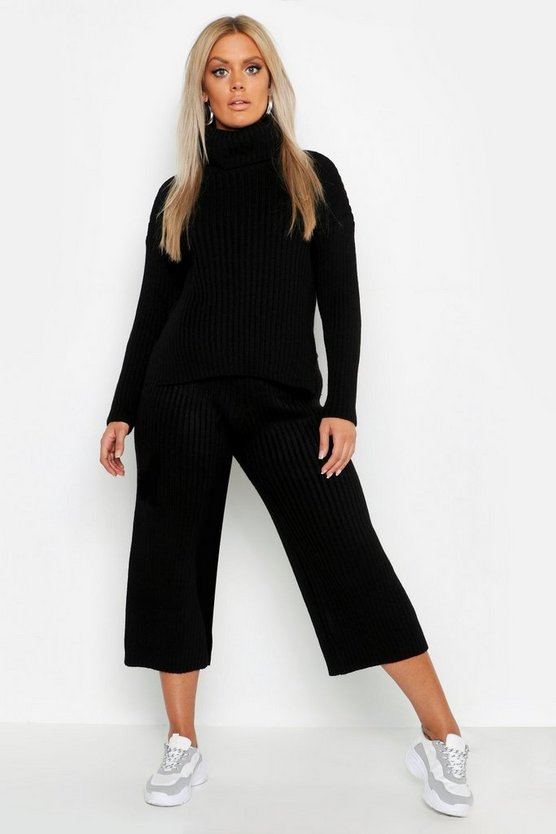 Womens Black Plus Roll Neck Rib Knit Culotte Co-ord