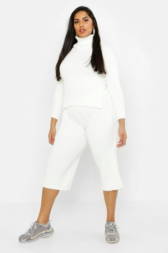 Womens Ecru Plus Roll Neck Rib Knit Culotte Co-ord