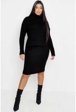 Womens Black Plus Roll Neck Rib Knitted Skirt Co-Ord