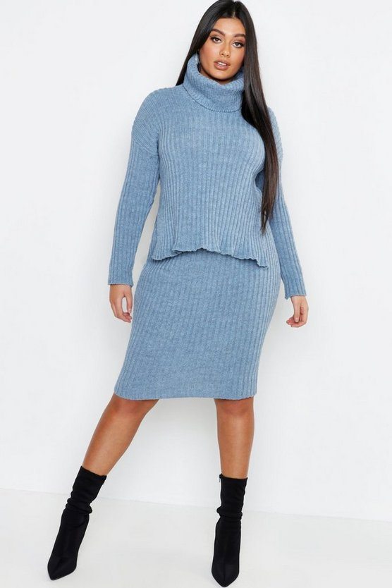 Plus Roll Neck Rib Knitted Skirt Co-Ord