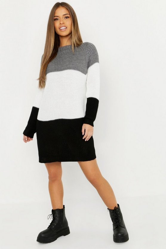 Grey Petite Stripe Jumper Dress