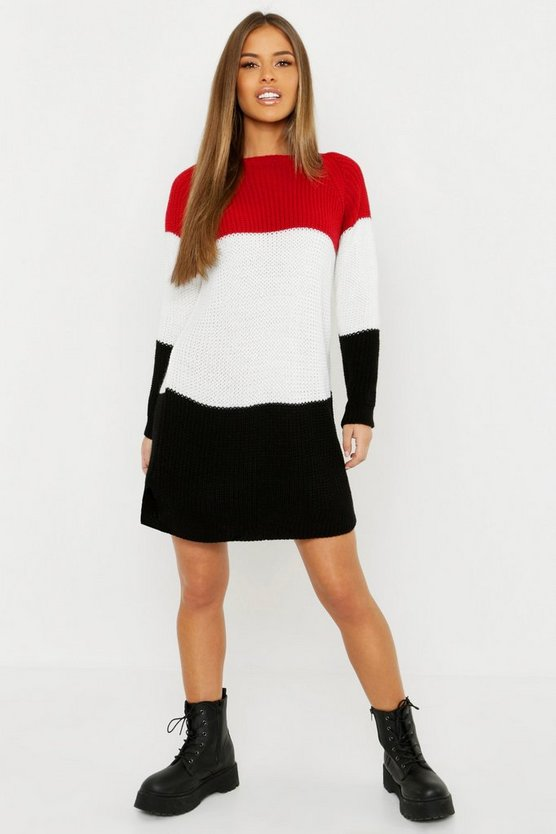 Womens Red Petite Stripe Jumper Dress