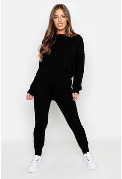 Womens Black Petite Cable Knit Lounge Set