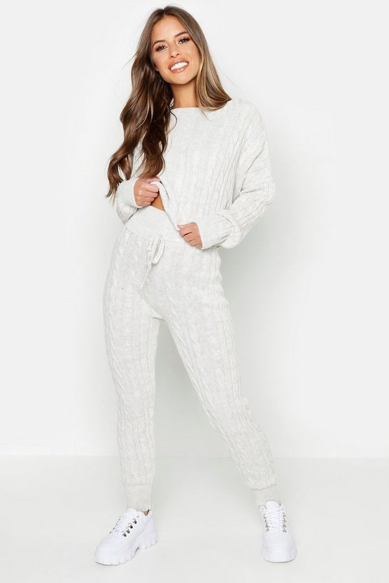 Womens Stone Petite Cable Knit Lounge Set