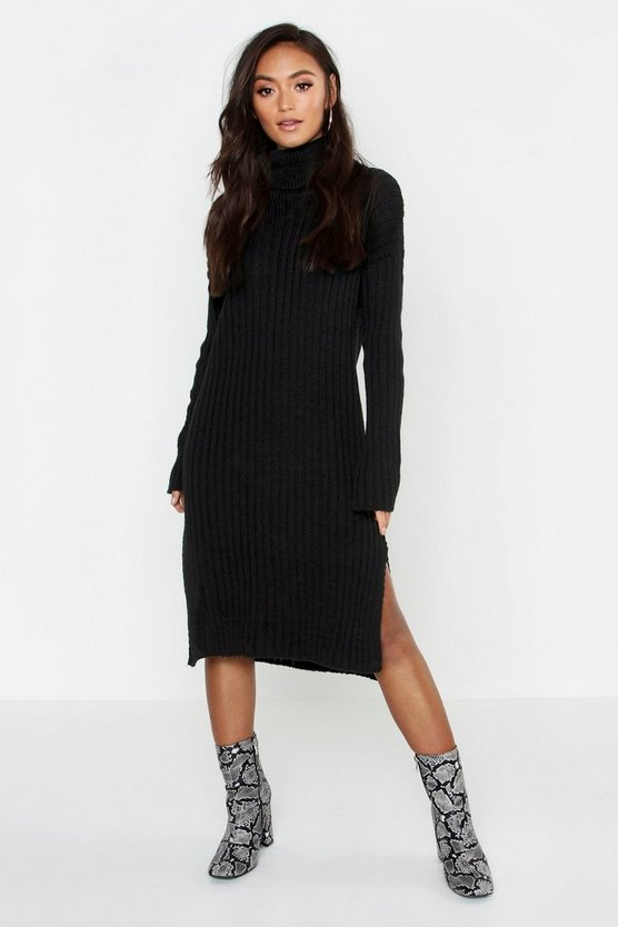 Womens Black Petite Side Split Midaxi Sweater Dress