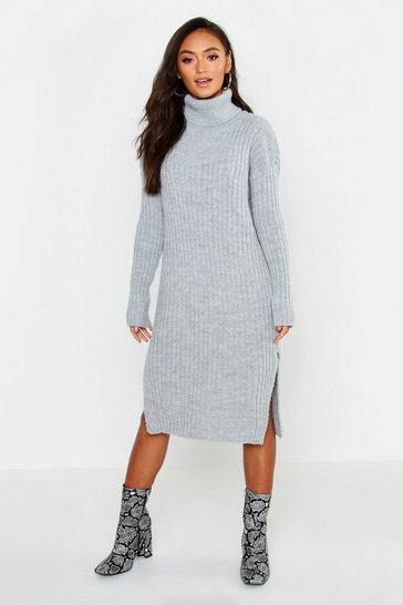 Womens Grey Petite Side Split Midaxi Jumper Dress