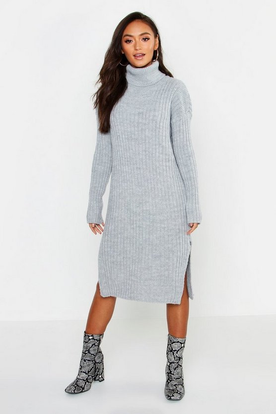 Womens Grey Petite Side Split Midaxi Sweater Dress
