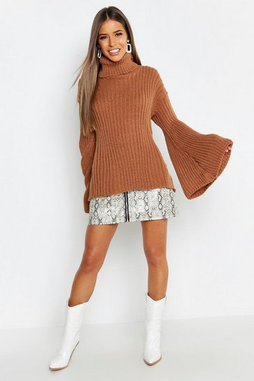 Womens Petite Wide Sleeve Roll Neck Jumper